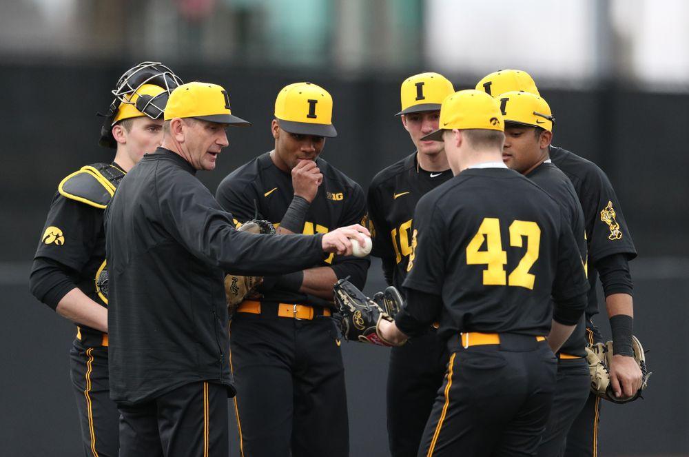Iowa Hawkeyes head coach Rick Heller against Simpson College Tuesday, March 19, 2019 at Duane Banks Field. (Brian Ray/hawkeyesports.com)
