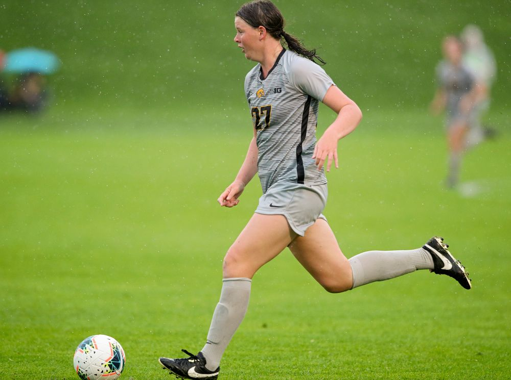 Iowa forward Samantha Tawharu (27) moves with the ball during the second half of their match at the Iowa Soccer Complex in Iowa City on Sunday, Sep 29, 2019. (Stephen Mally/hawkeyesports.com)