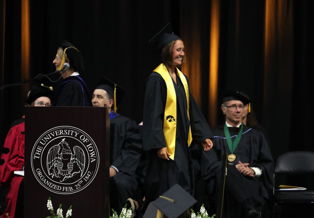 Iowa SoftballÕs Erin Riding during the College of Liberal Arts and Sciences spring commencement Saturday, May 11, 2019 at Carver-Hawkeye Arena. (Brian Ray/hawkeyesports.com)