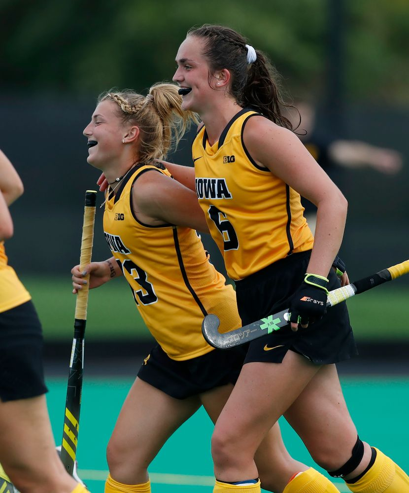 Iowa Hawkeyes Leah Zellner (13) and Anthe Nijziel (6) against Ball State Sunday, September 2, 2018 at Grant Field. (Brian Ray/hawkeyesports.com)