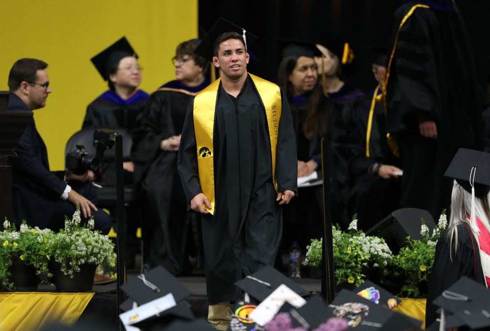 Iowa WrestlingÕs Perez Perez during the College of Liberal Arts and Sciences spring commencement Saturday, May 11, 2019 at Carver-Hawkeye Arena. (Brian Ray/hawkeyesports.com)