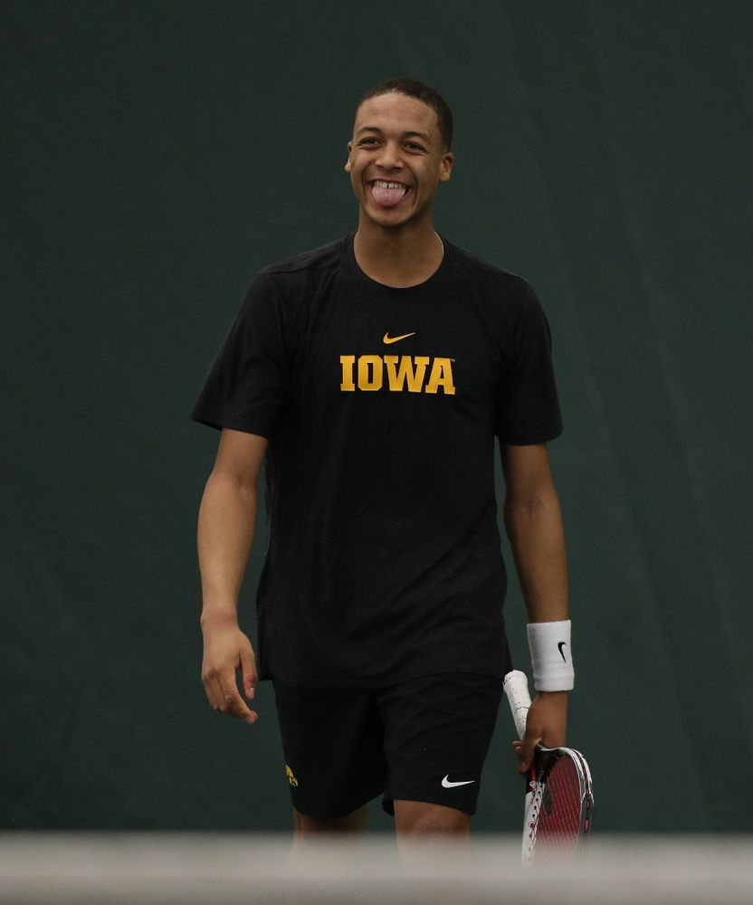 Oliver Okonkwo against the Miami Hurricanes Friday, February 8, 2019 at the Hawkeye Tennis and Recreation Complex. (Brian Ray/hawkeyesports.com)