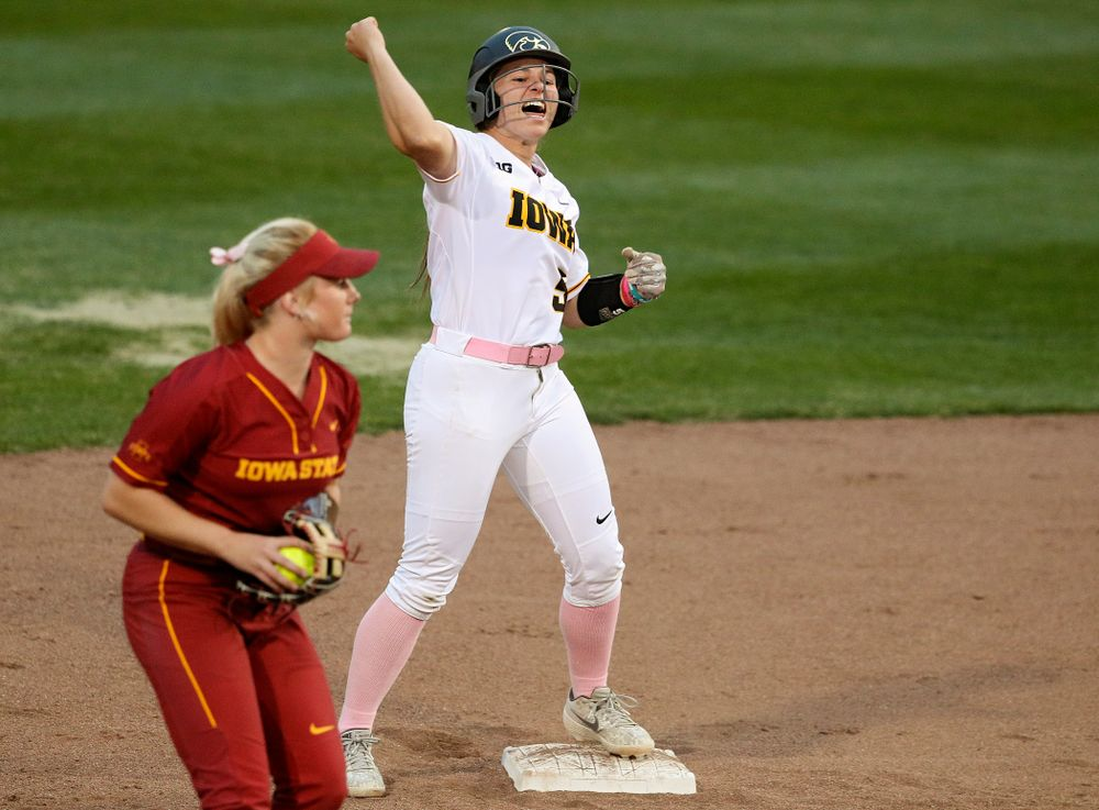 Iowa shortstop Sydney Owens (5) celebrates on second base after hitting a double during the fifth inning of their game against Iowa State at Pearl Field in Iowa City on Tuesday, Apr. 9, 2019. (Stephen Mally/hawkeyesports.com)