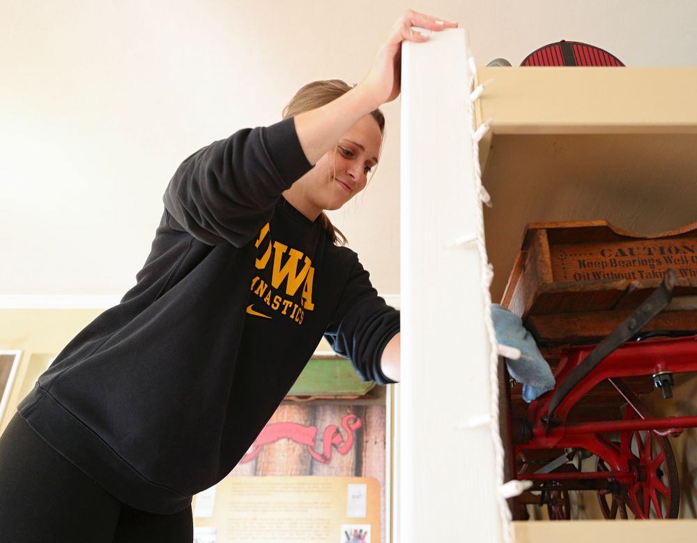 Iowa women's gymnasts clean the Coralville Old Town Hall during the 21st annual ISAAC Hawkeye Day of Caring in Coralville on Sunday, Apr. 28, 2019. (Stephen Mally/hawkeyesports.com)