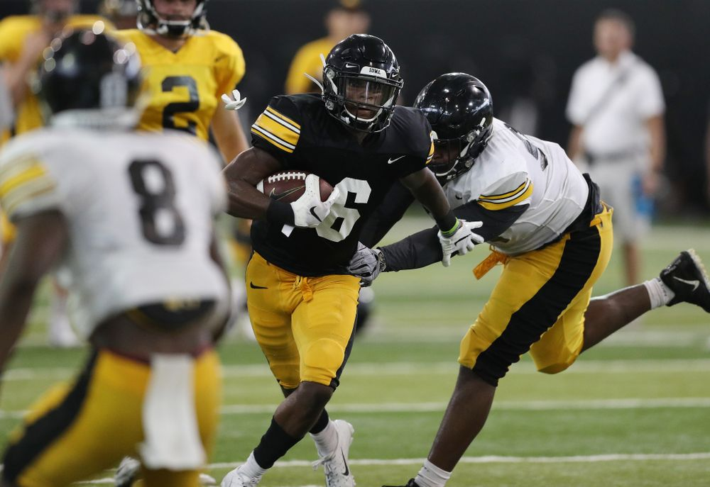 Iowa Hawkeyes wide receiver Ihmir Smith-Marsette (6) during Fall Camp Practice No. 6 Thursday, August 8, 2019 at the Ronald D. and Margaret L. Kenyon Football Practice Facility. (Brian Ray/hawkeyesports.com)