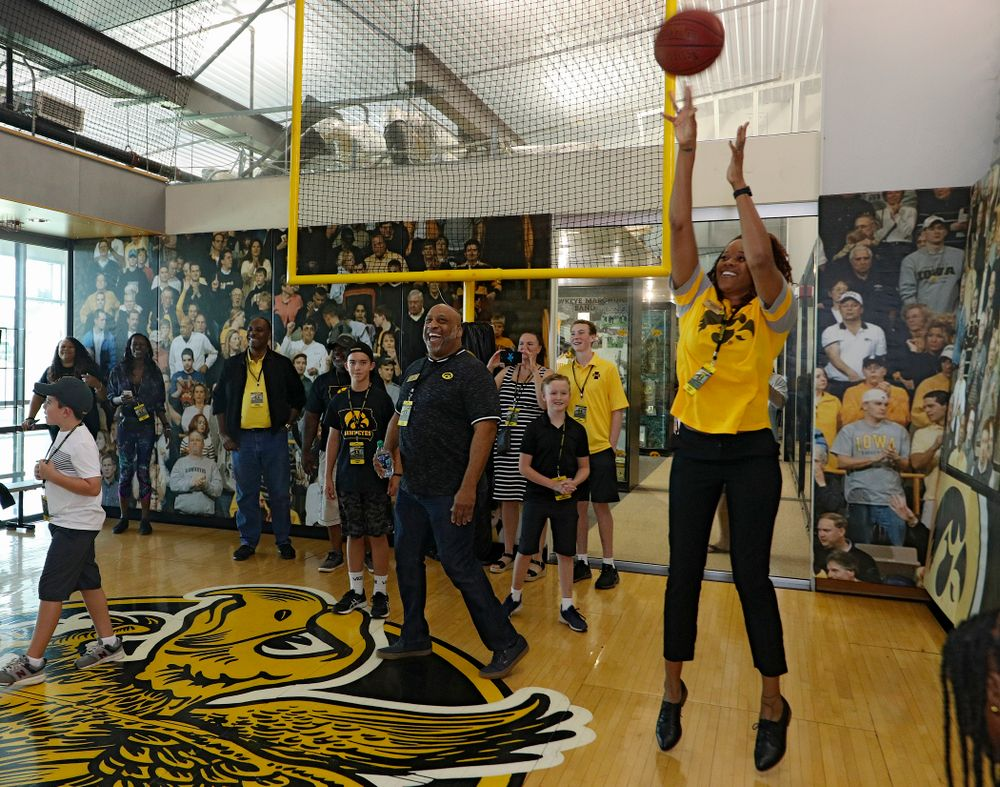 2019 University of Iowa Athletics Hall of Fame inductee Tangela Smith makes a basket at the University of Iowa Athletics Hall of Fame in Iowa City on Friday, Aug 30, 2019. (Stephen Mally/hawkeyesports.com)