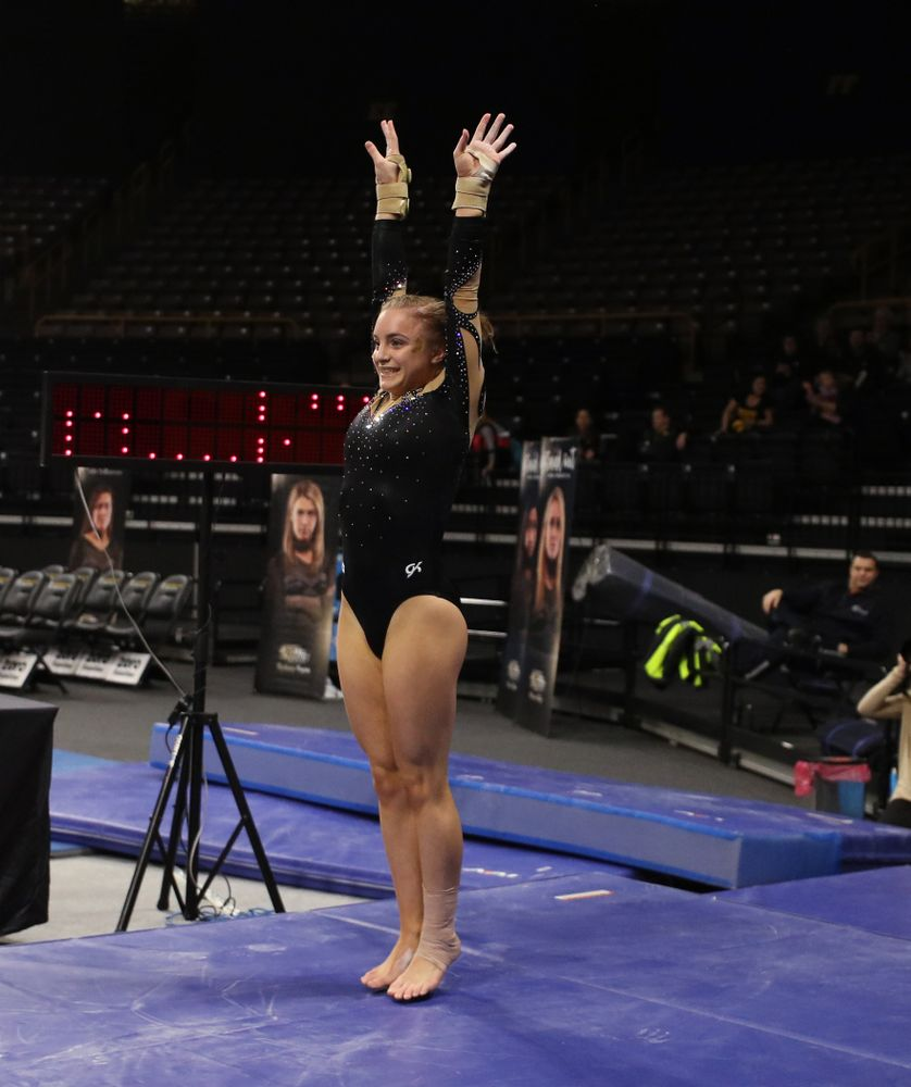 Iowa's Lauren Guerin competes on the vault during their meet against Southeast Missouri State Friday, January 11, 2019 at Carver-Hawkeye Arena. (Brian Ray/hawkeyesports.com)