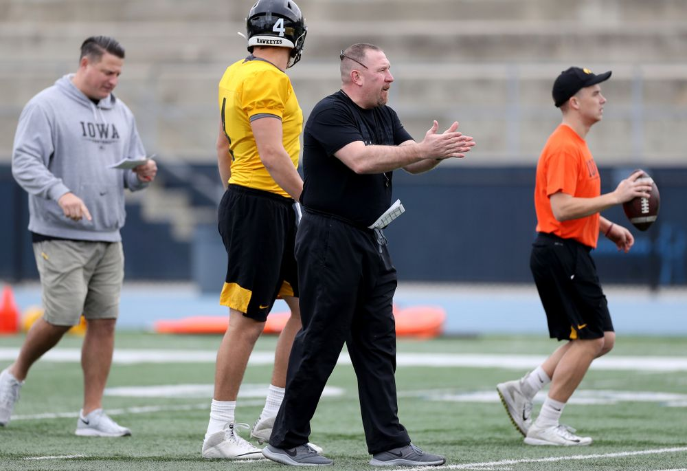 Iowa Hawkeyes offensive line coach Tim Polasek  during practice Sunday, December 22, 2019 at Mesa College in San Diego. (Brian Ray/hawkeyesports.com)