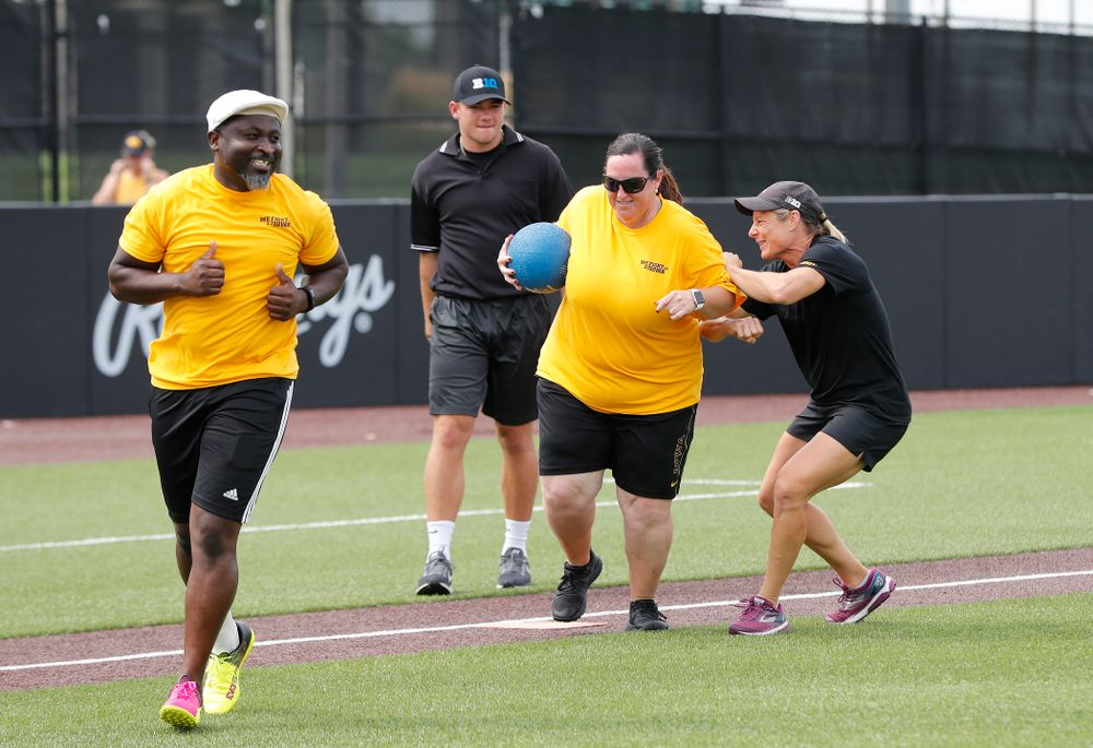 Head Women's Golf Coach Megan Menzel and Head Field Hockey Coach Lisa Cellucci during the Iowa Student Athlete Kickoff Kickball game  Sunday, August 19, 2018 at Duane Banks Field. (Brian Ray/hawkeyesports.com)