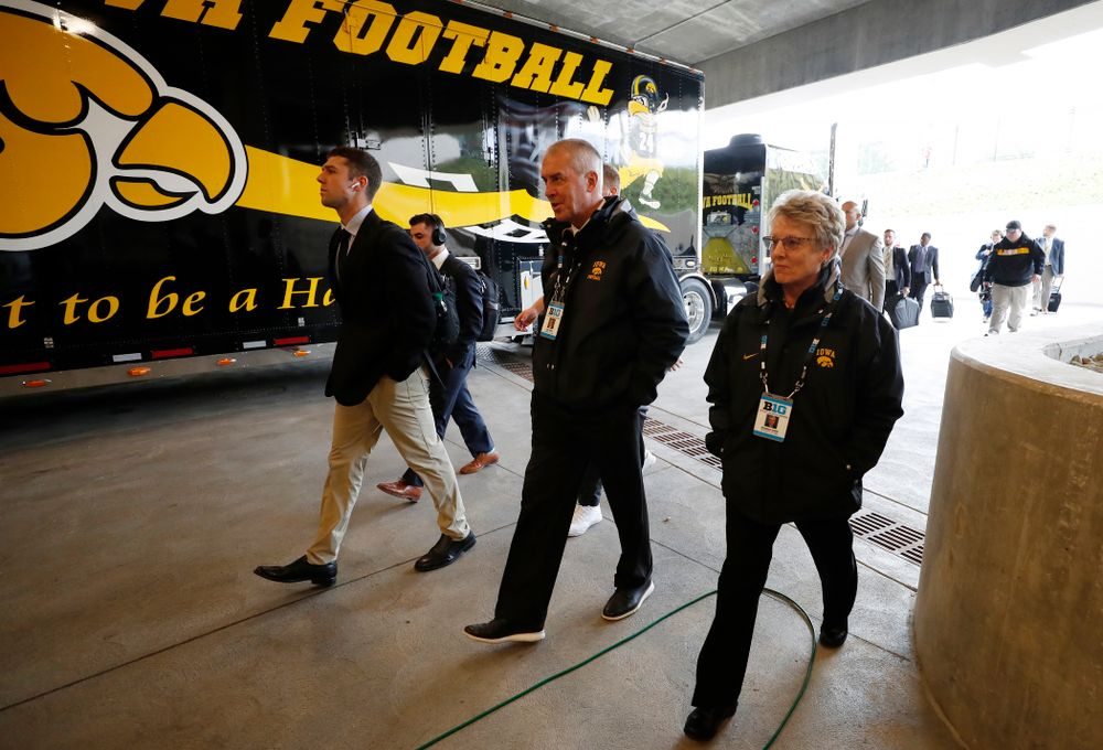 Henry B. and Patricia B. Tippie Director of Athletics Chair Gary Barta and Deputy Athletics Director Barbara Burke against the Indiana Hoosiers Saturday, October 13, 2018 at Memorial Stadium, in Bloomington, Ind. (Brian Ray/hawkeyesports.com)