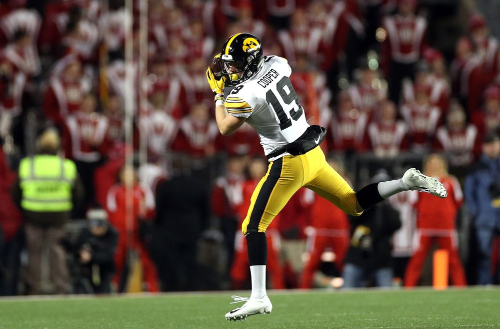 Iowa Hawkeyes wide receiver Max Cooper (19) against the Wisconsin Badgers Saturday, November 9, 2019 at Camp Randall Stadium in Madison, Wisc. (Brian Ray/hawkeyesports.com)