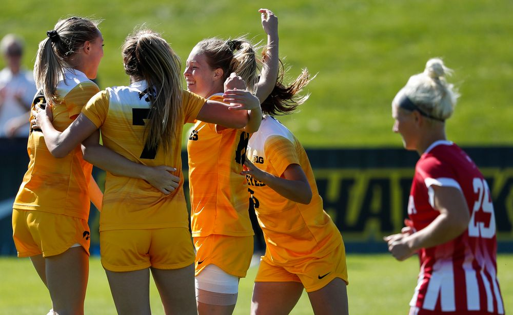 Iowa Hawkeyes midfielder Natalie Winters (10) celebrates after scoring a goal during a game against Indiana at the Iowa Soccer Complex on September 23, 2018. (Tork Mason/hawkeyesports.com)