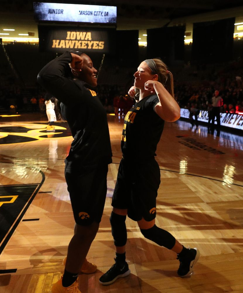 Iowa Hawkeyes guard Makenzie Meyer (3) and guard Alexis Sevillian (5) against the Iowa State Cyclones in the Iowa Corn Cy-Hawk Series Wednesday, December 5, 2018 at Carver-Hawkeye Arena. (Brian Ray/hawkeyesports.com)
