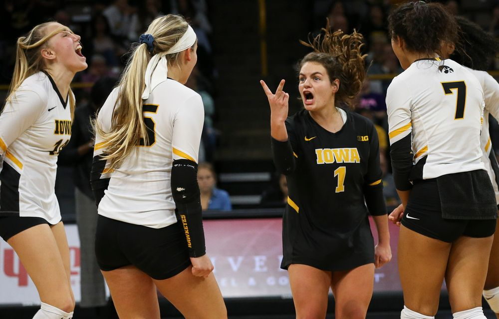 Iowa Hawkeyes defensive specialist Molly Kelly (1) reacts after winning a point during a game against Purdue at Carver-Hawkeye Arena on October 13, 2018. (Tork Mason/hawkeyesports.com)
