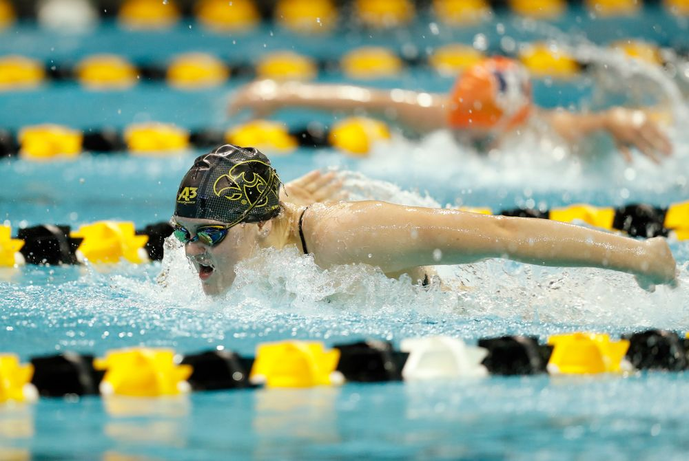 Iowa's Summer Campbell swims the 200 yard butterfly