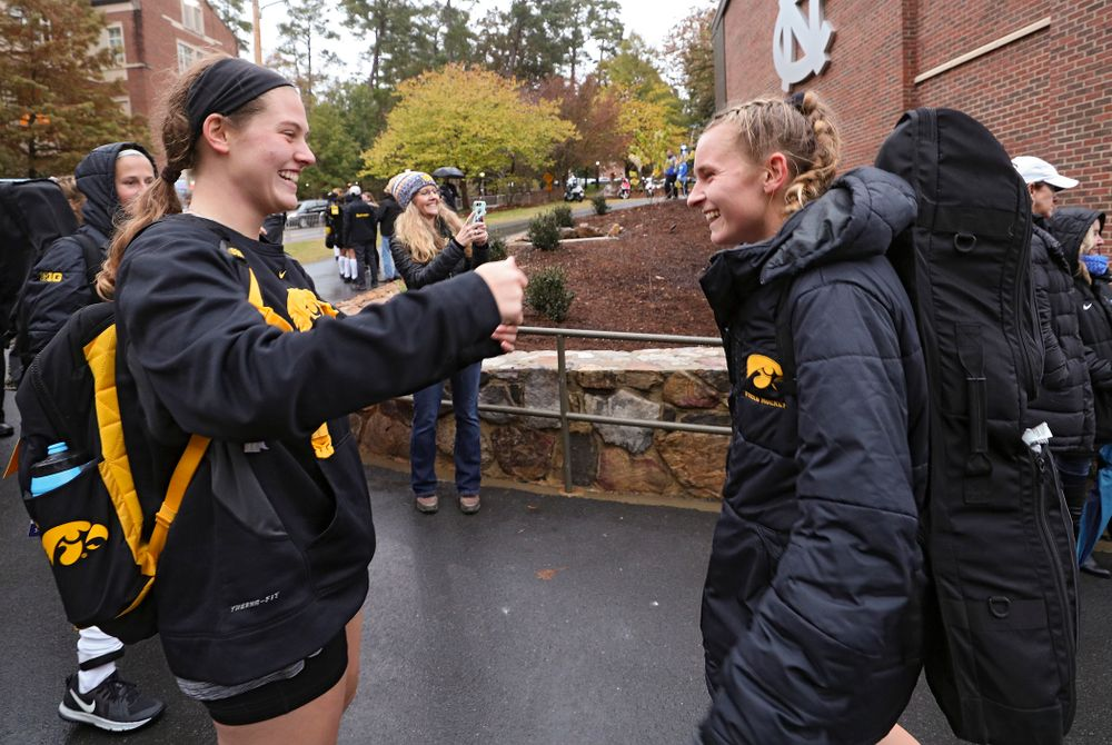 Iowa's Grace McGuire (62) and Katie Birch (11) after winning their NCAA Tournament First Round match against Duke at Karen Shelton Stadium in Chapel Hill, N.C. on Friday, Nov 15, 2019. (Stephen Mally/hawkeyesports.com)