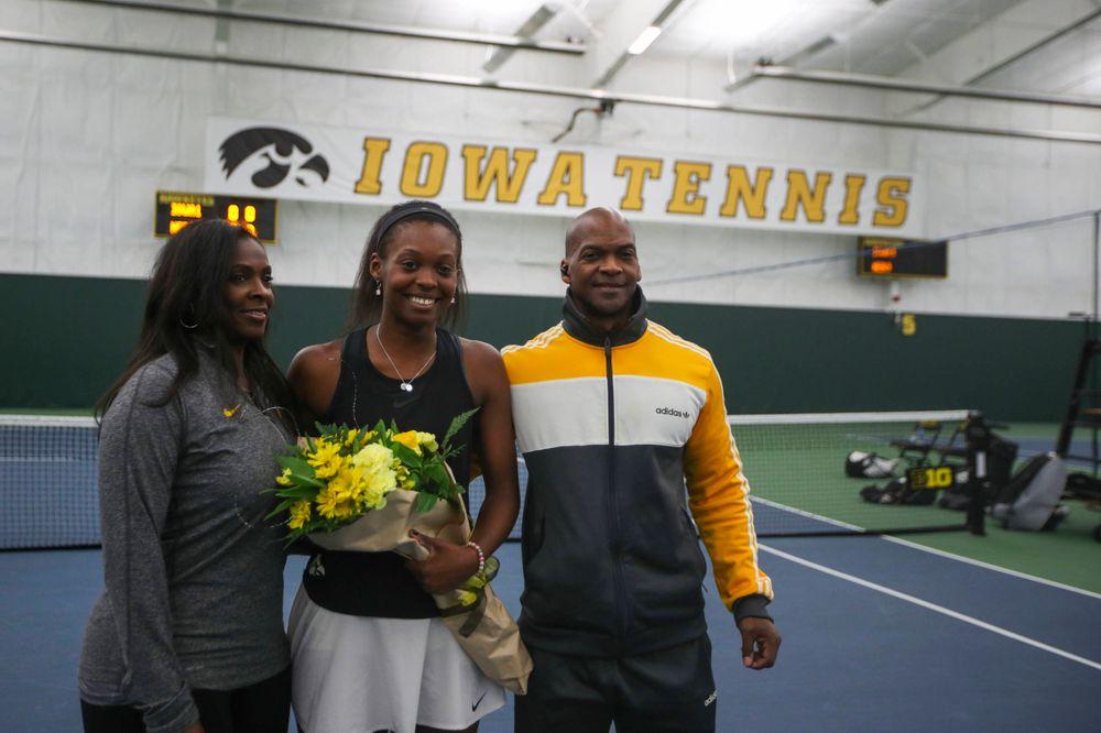 IowaÕs Adorabol Huckleby at womenÕs tennis senior day vs Nebraska on Saturday, April 13, 2019 at the Hawkeye Tennis and Recreation Complex. (Lily Smith/hawkeyesports.com)