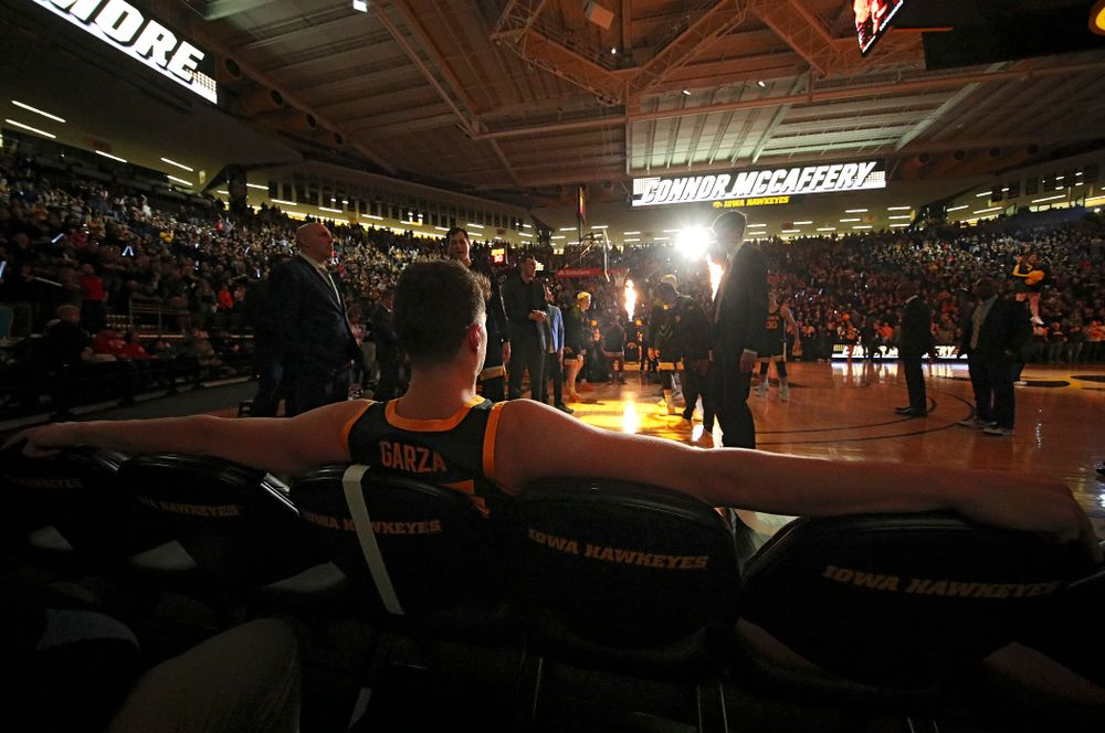 Iowa Hawkeyes center Luka Garza (55) waits to be introduced before their game at Carver-Hawkeye Arena in Iowa City on Monday, January 27, 2020. (Stephen Mally/hawkeyesports.com)