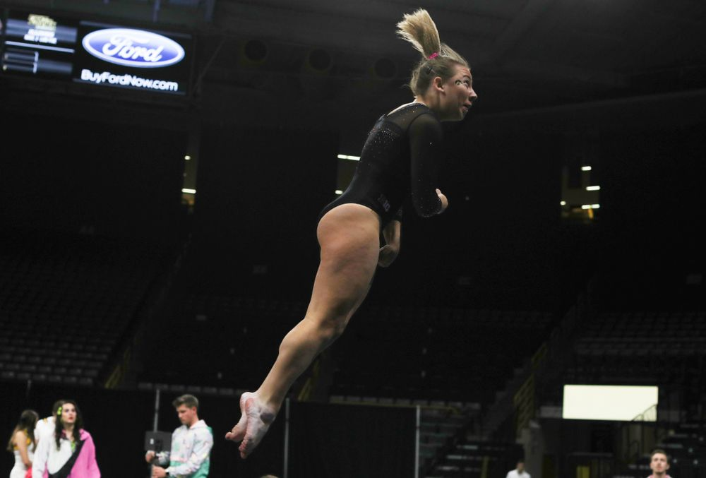 Iowa's Alex Greenwald competes on the vault against Michigan Friday, February 14, 2020 at Carver-Hawkeye Arena. (Brian Ray/hawkeyesports.com)