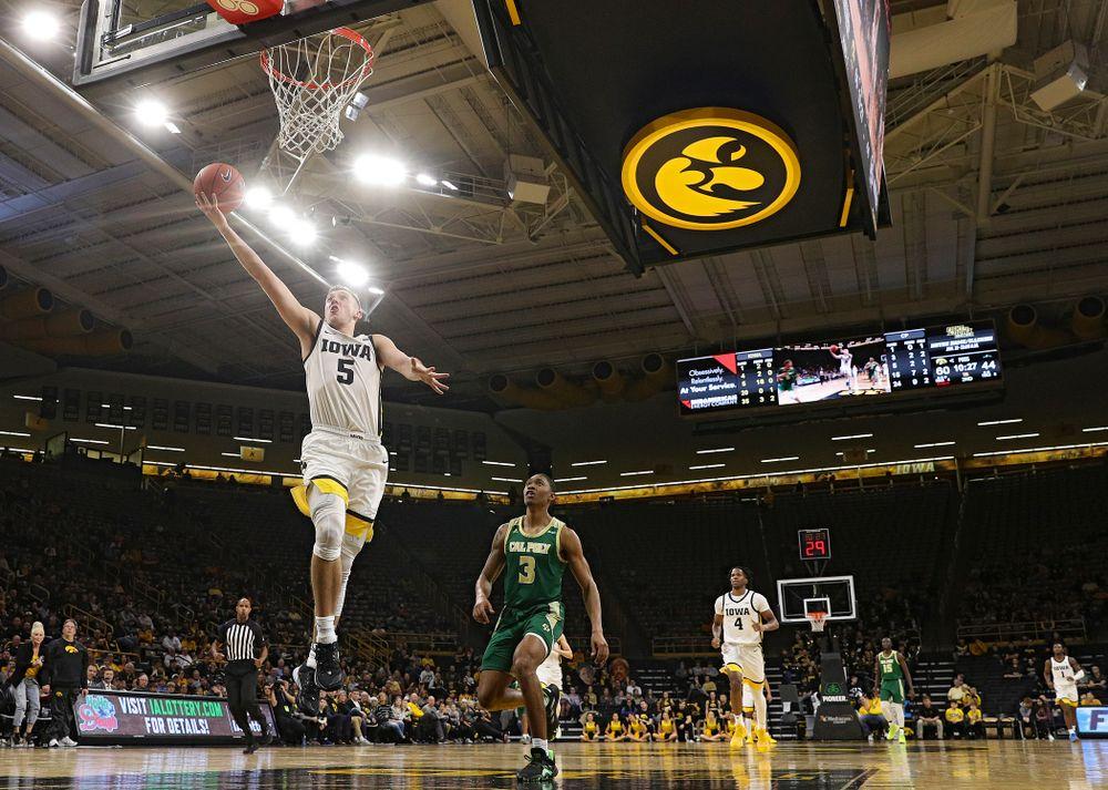 Iowa Hawkeyes guard CJ Fredrick (5) scores a basket during the second half of their game at Carver-Hawkeye Arena in Iowa City on Sunday, Nov 24, 2019. (Stephen Mally/hawkeyesports.com)