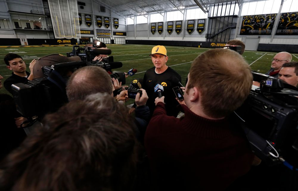 Thursday, February 8, 2018 (Brian Ray/hawkeyesports.com)Iowa Hawkeyes head coach Rick Heller answers questions from reporters during the team's annual media day Thursday, February 8, 2018 in the indoor practice facility. (Brian Ray/hawkeyesports.com)