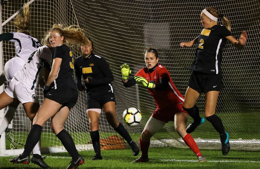 Iowa Hawkeyes goalkeeper Claire Graves (1) defends the goal on a corner kick during a game against Michigan State at the Iowa Soccer Complex on October 12, 2018. (Tork Mason/hawkeyesports.com)