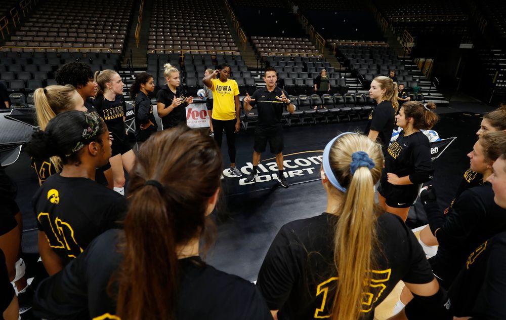 Iowa Hawkeyes head coach Bond Shymansky during the team's annual media day Friday, August 17, 2018 at Carver-Hawkye Arena. (Brian Ray/hawkeyesports.com)
