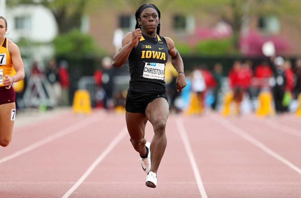 Iowa's Antonise Christian runs the women's 100 meter dash event on the second day of the Big Ten Outdoor Track and Field Championships at Francis X. Cretzmeyer Track in Iowa City on Saturday, May. 11, 2019. (Stephen Mally/hawkeyesports.com)