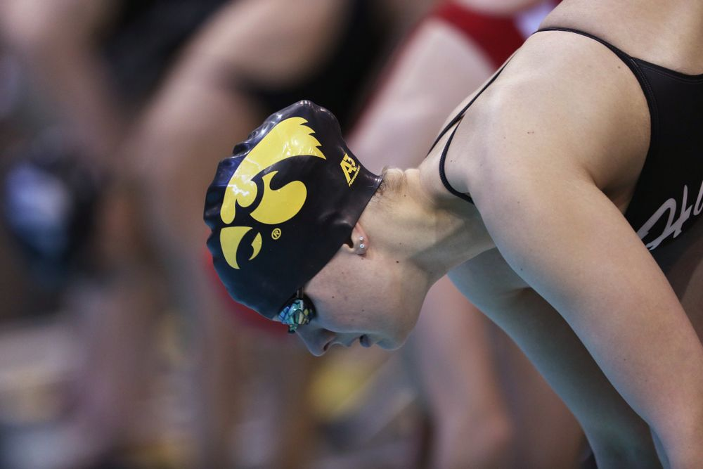 Iowa's Hannah Burvill swims the 200 yard freestyle during a double dual against Wisconsin and Northwestern Saturday, January 19, 2019 at the Campus Recreation and Wellness Center. (Brian Ray/hawkeyesports.com)
