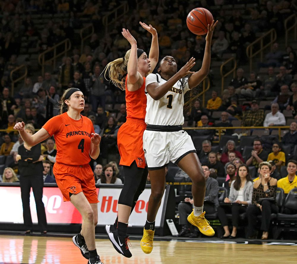 Iowa guard Tomi Taiwo (1) scores a basket during the third quarter of their overtime win against Princeton at Carver-Hawkeye Arena in Iowa City on Wednesday, Nov 20, 2019. (Stephen Mally/hawkeyesports.com)