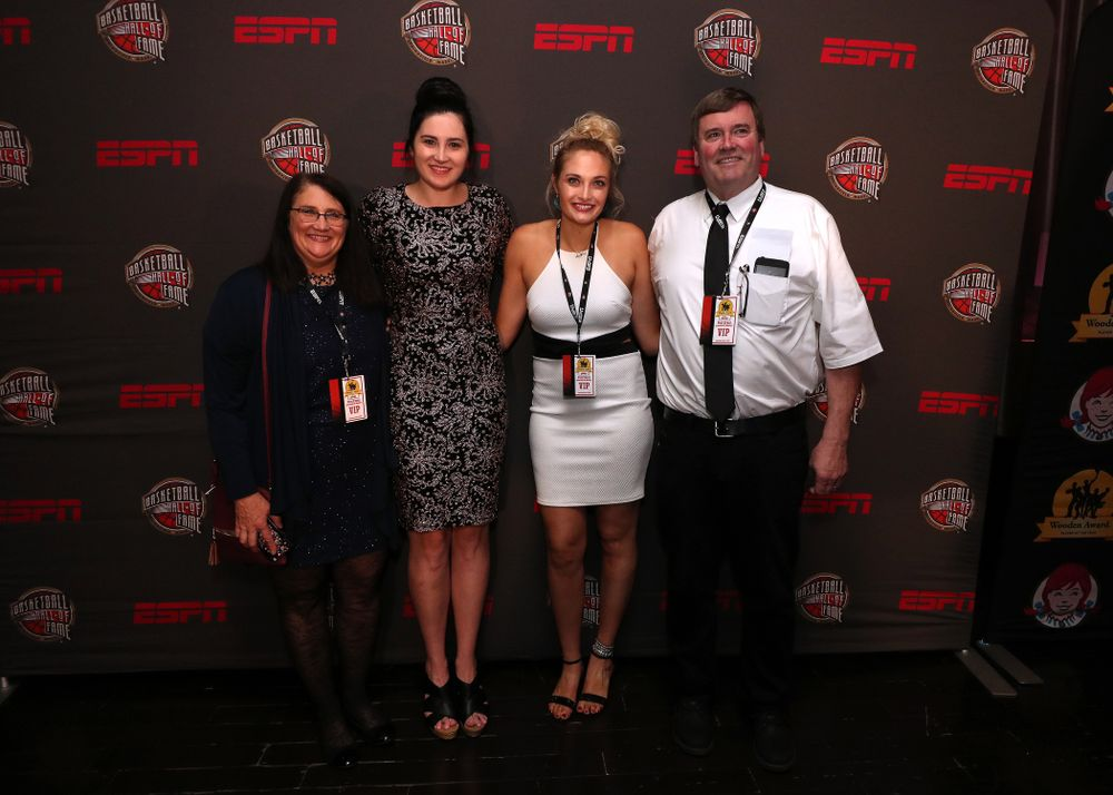 Iowa Hawkeyes forward Megan Gustafson (10) and her family before the ESPN College Basketball Awards show Friday, April 12, 2019 at The Novo at LA Live.  (Brian Ray/hawkeyesports.com)