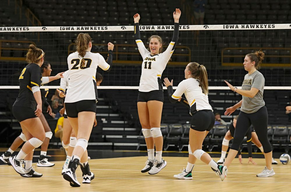 Iowa's Blythe Rients (11) celebrates with teammates during the second set of the Black and Gold scrimmage at Carver-Hawkeye Arena in Iowa City on Saturday, Aug 24, 2019. (Stephen Mally/hawkeyesports.com)