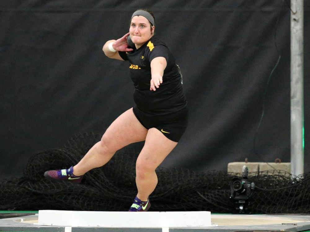 Iowa's Jamie Kofron throws in the women's shot put event during the Larry Wieczorek Invitational at the Hawkeye Tennis and Recreation Complex in Iowa City on Friday, January 17, 2020. (Stephen Mally/hawkeyesports.com)