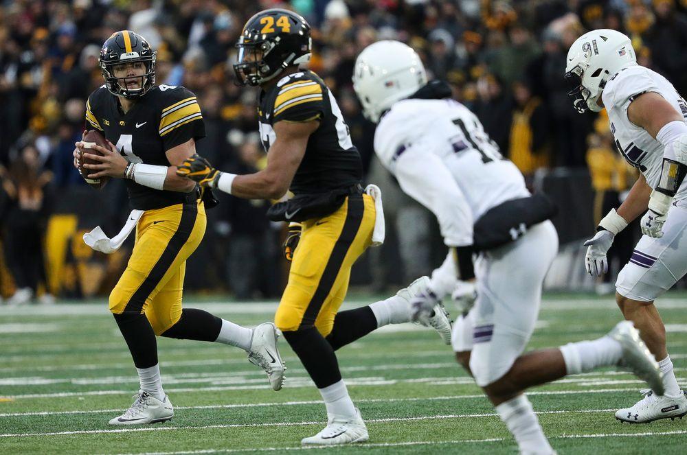 Iowa Hawkeyes quarterback Nate Stanley (4) looks to pass during a game against Northwestern at Kinnick Stadium on November 10, 2018. (Tork Mason/hawkeyesports.com)