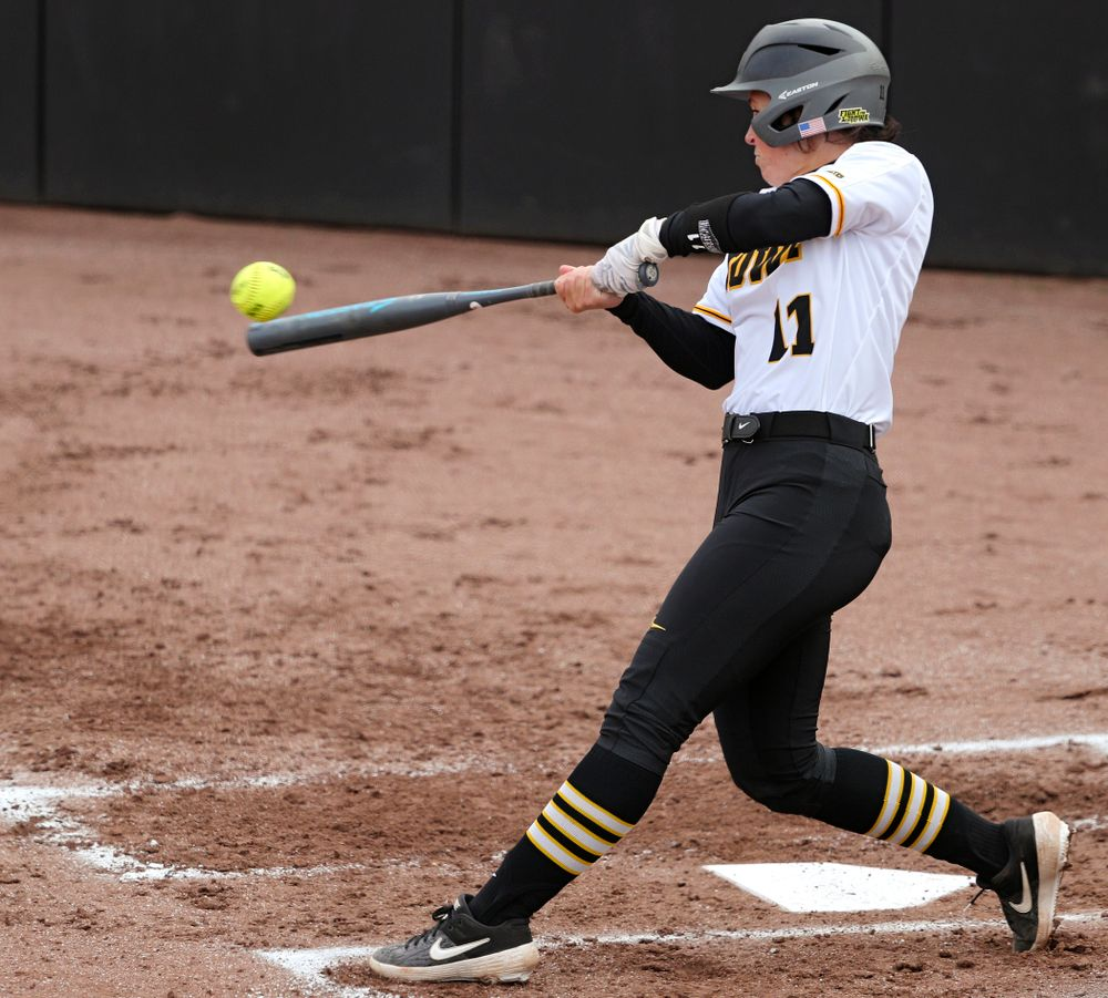 Iowa third baseman Mallory Kilian (11) bats during the first inning of their game against Illinois at Pearl Field in Iowa City on Friday, Apr. 12, 2019. (Stephen Mally/hawkeyesports.com)
