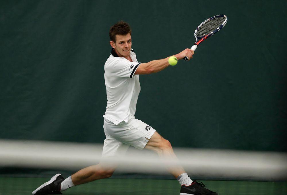 Piotr Smietana against Purdue Sunday, April 15, 2018 at the Hawkeye Tennis and Recreation Center. (Brian Ray/hawkeyesports.com)