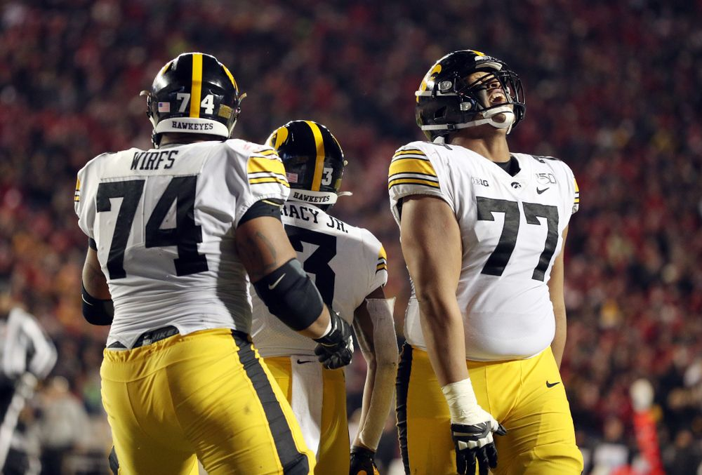 Iowa Hawkeyes offensive lineman Alaric Jackson (77) against the Wisconsin Badgers Saturday, November 9, 2019 at Camp Randall Stadium in Madison, Wisc. (Brian Ray/hawkeyesports.com)