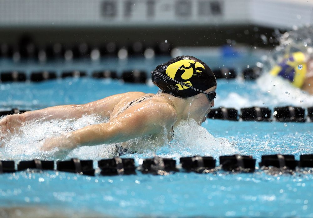 IowaÕs Grace Reeder swims the 200 yard butterfly against the Michigan Wolverines Friday, November 1, 2019 at the Campus Recreation and Wellness Center. (Brian Ray/hawkeyesports.com)