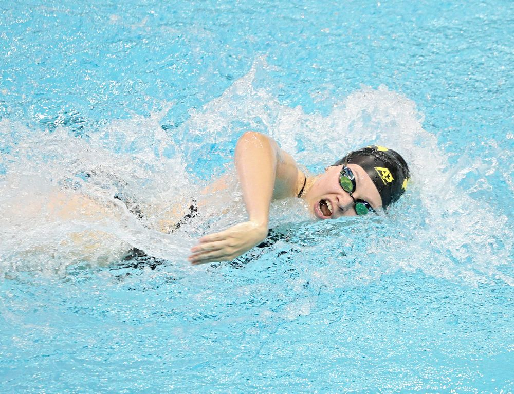 Iowa's Lauren McDougall swims the women's 100-yard freestyle event during their meet against Michigan State and Northern Iowa at the Campus Recreation and Wellness Center in Iowa City on Friday, Oct 4, 2019. (Stephen Mally/hawkeyesports.com)