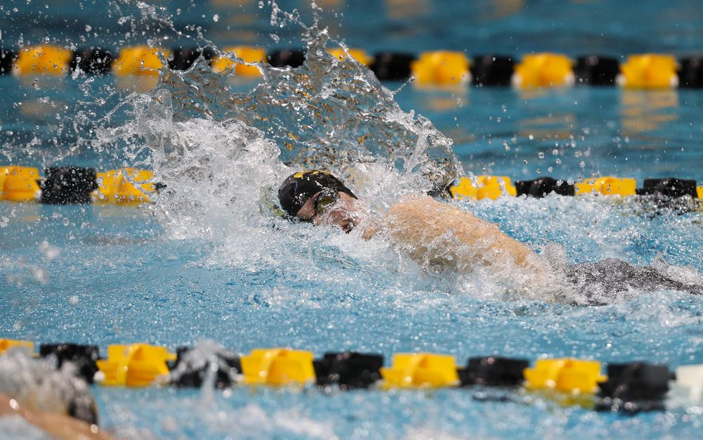 Iowa's Hannah Burvill competes in the 100-yard freestyle during the third day of the Hawkeye Invitational at the Campus Recreation and Wellness Center on November 17, 2018. (Tork Mason/hawkeyesports.com)