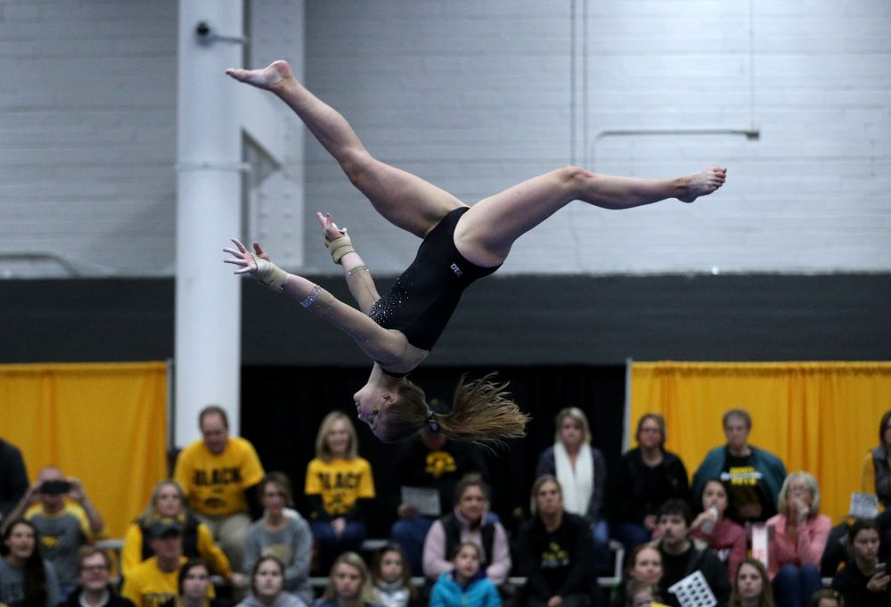 Lauren Guerin competes on the beam during the Black and Gold intrasquad meet Saturday, December 1, 2018 at the University of Iowa Field House. (Brian Ray/hawkeyesports.com)