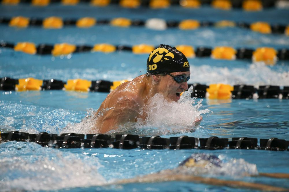Iowa's Michael Tenney swims the 200-yard individual medley during the Iowa swimming and diving meet vs Notre Dame and Illinois on Saturday, January 11, 2020 at the Campus Recreation and Wellness Center. (Lily Smith/hawkeyesports.com)