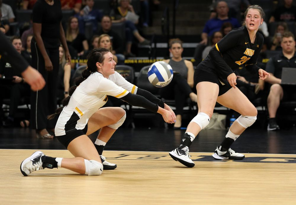 Iowa Hawkeyes defensive specialist Halle Johnston (4) against the Iowa State Cyclones Saturday, September 21, 2019 at Carver-Hawkeye Arena. (Brian Ray/hawkeyesports.com)