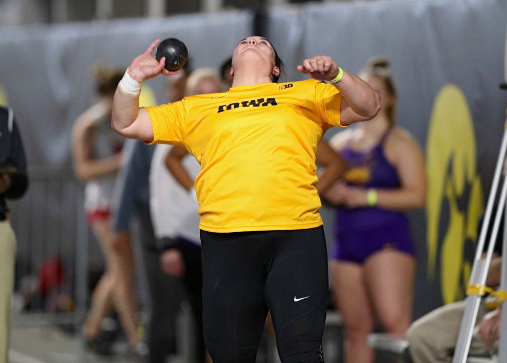 Iowa's Jamie Kofron competes in the women's shot put event during the Jimmy Grant Invitational at the Recreation Building in Iowa City on Saturday, December 14, 2019. (Stephen Mally/hawkeyesports.com)