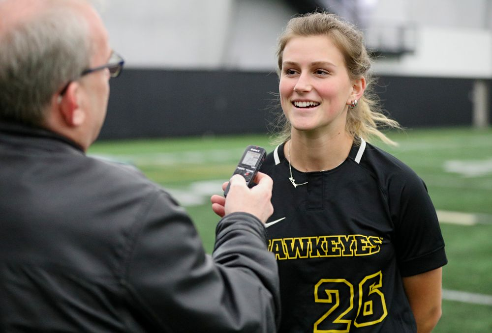 Iowa infielder Mia Ruther (26) answers questions during Iowa Softball Media Day at the Hawkeye Tennis and Recreation Complex in Iowa City on Thursday, January 30, 2020. (Stephen Mally/hawkeyesports.com)