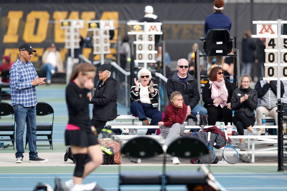 Fans cheer on the Iowa Hawkeyes against Minnesota Friday, April 20, 2018 at the Hawkeye Tennis and Recreation Center. (Brian Ray/hawkeyesports.com)