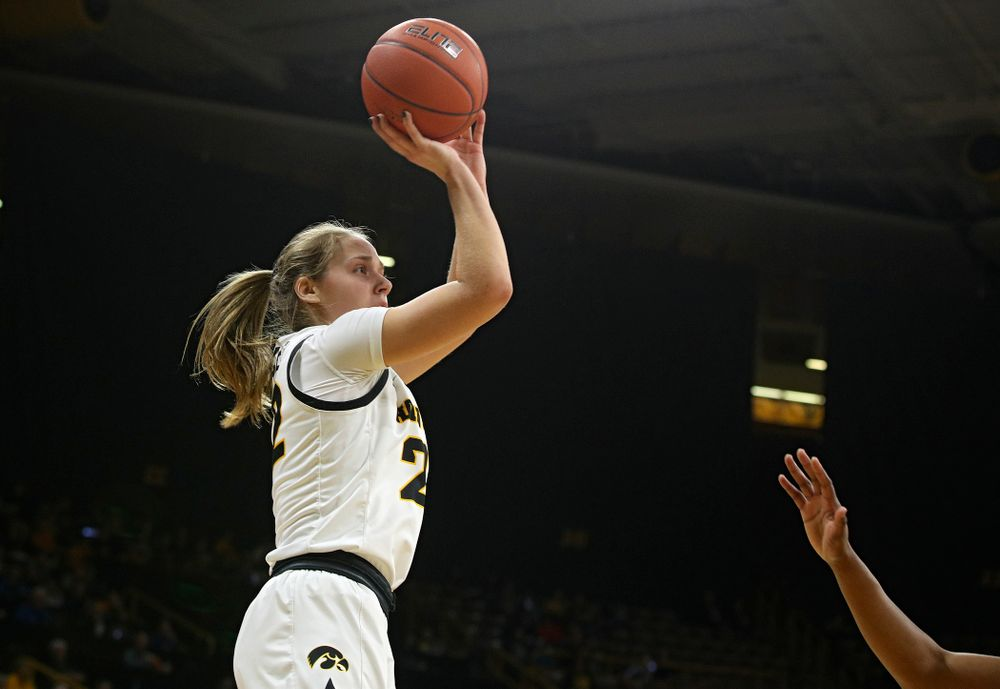 Iowa Hawkeyes guard Kathleen Doyle (22) makes a basket during the first quarter of the game at Carver-Hawkeye Arena in Iowa City on Thursday, February 6, 2020. (Stephen Mally/hawkeyesports.com)