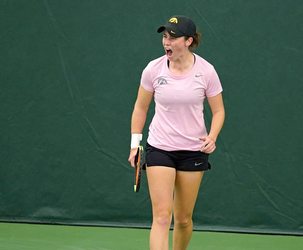 Iowa's Elise van Heuvelen Treadwell celebrates a score during her match against Purdue at the Hawkeye Tennis and Recreation Complex in Iowa City on Friday, Mar. 29, 2019. (Stephen Mally/hawkeyesports.com)