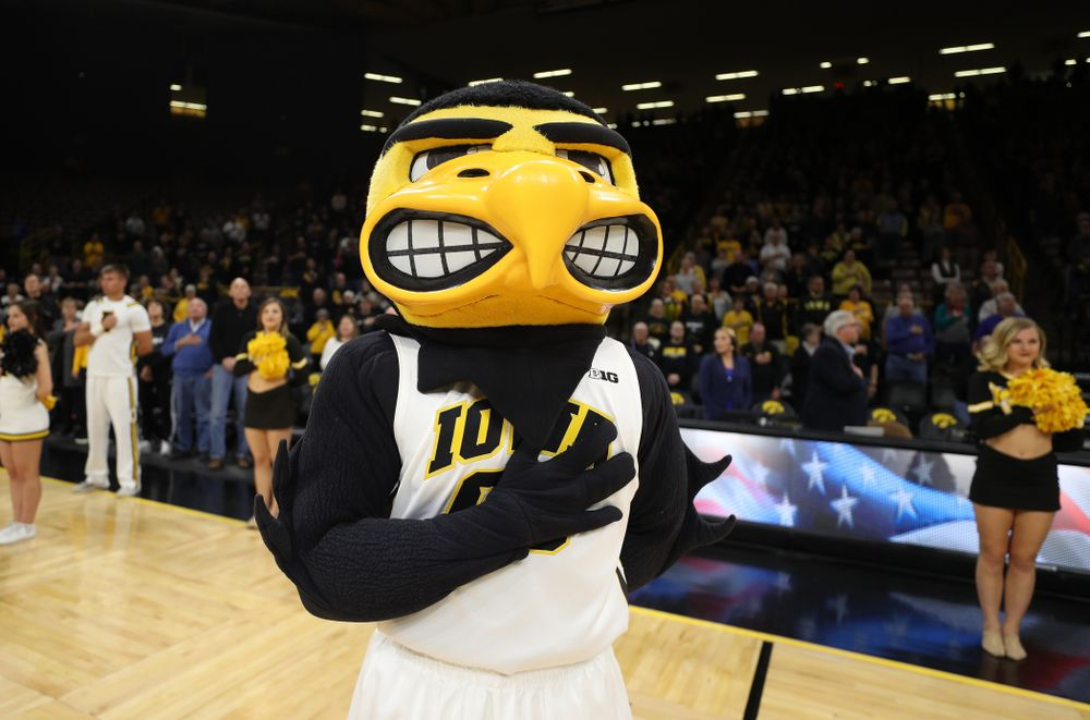 Herky The Hawk against the Wisconsin Badgers Monday, January 7, 2019 at Carver-Hawkeye Arena.  (Brian Ray/hawkeyesports.com)