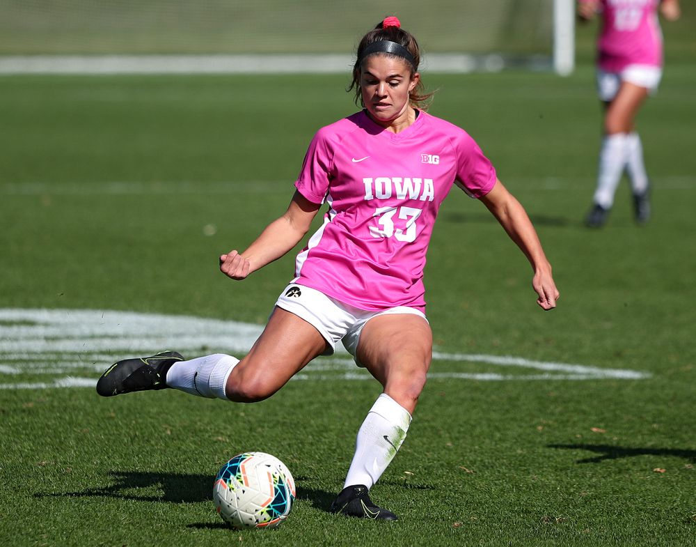 Iowa defender Riley Burns (33) lines up a shot during the first half of their match at the Iowa Soccer Complex in Iowa City on Sunday, Oct 27, 2019. (Stephen Mally/hawkeyesports.com)